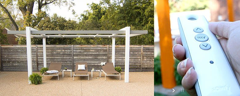 Remote controlled covered pergola