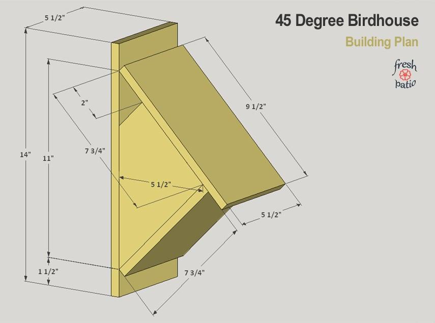 45 degree birdhouse plan