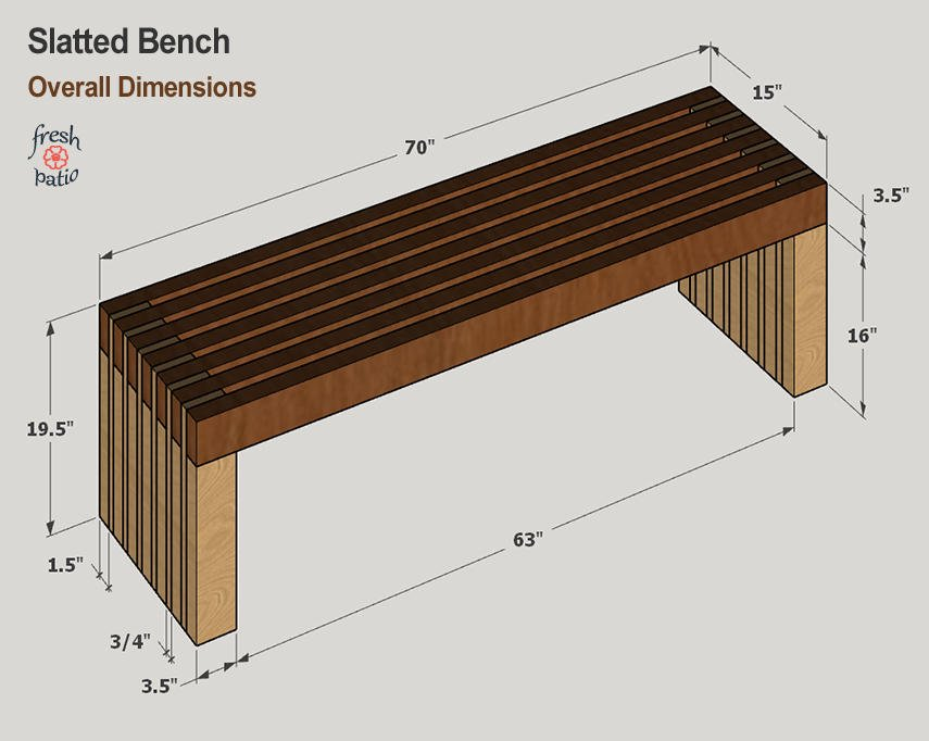 Anna White outdoor bench building plan - overall dimensions are W 15-in x L 70-in x H 19.5-in