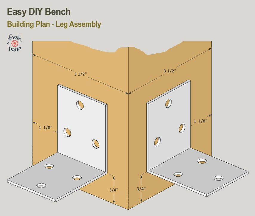 Easy DIY Bench Plan - metal bracket detail