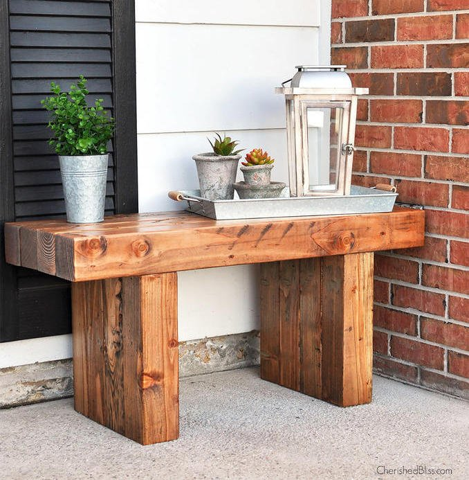 Rustic Bench on the front porch