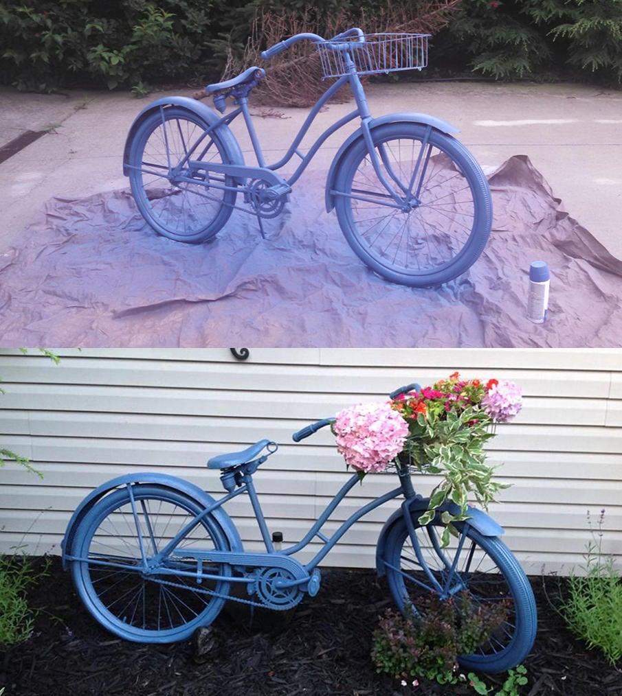 Craft DIY Tutorial for Creating a Garden Bike Planter