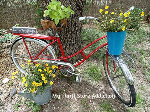 Thrift store Beach Cruiser bike made into a planter