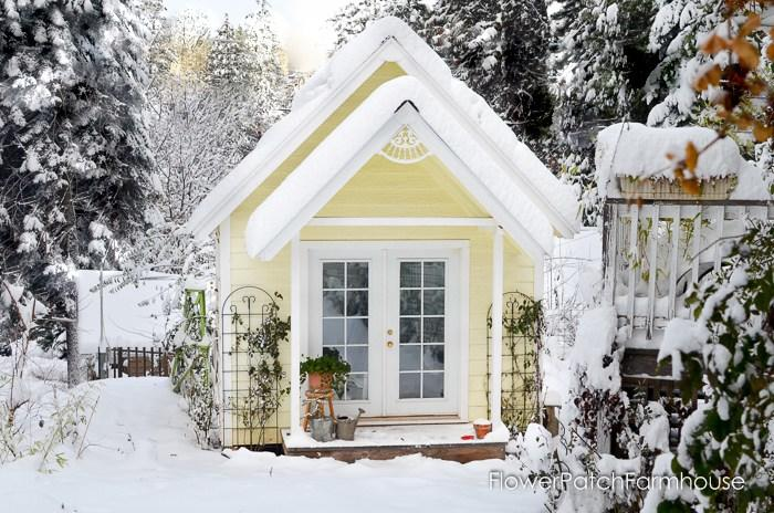 Garden shed decor in the Winter