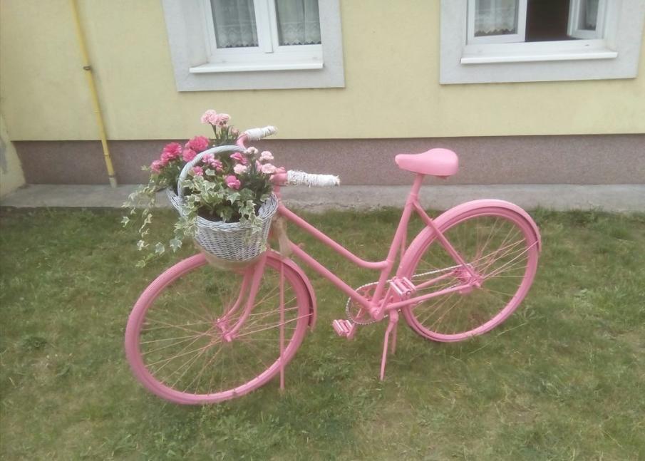 Pink bicycle planter