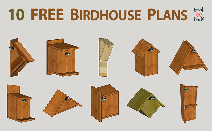 10 Free Birdhouse Plans - Simple No Drilling Designs