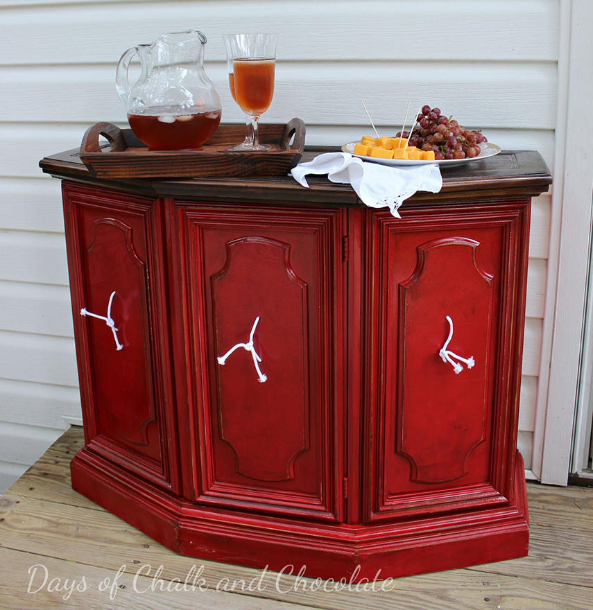 A junked credenza made into a beautiful outdoor bar