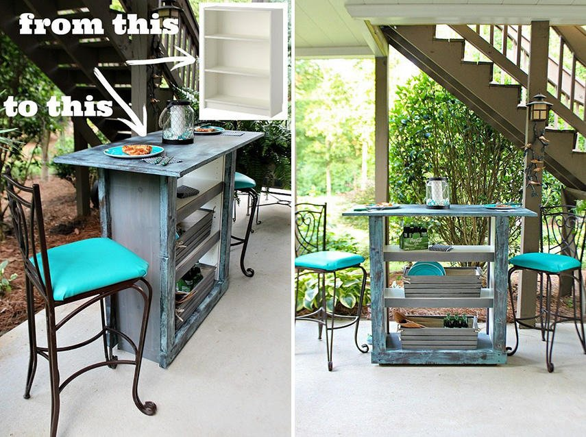 A patio bar made from an Ikea bookcase