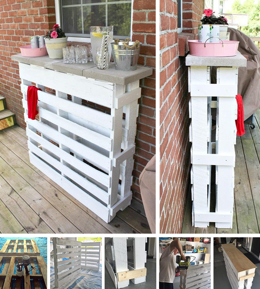 A tutorial on how to build a DIY Outdoor Bar using a Wood Pallet