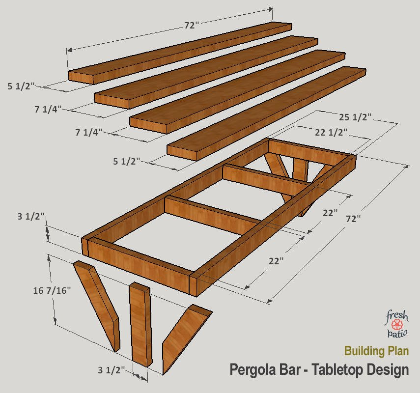 Bar tabletop assembly diagram showing wood boards sizes