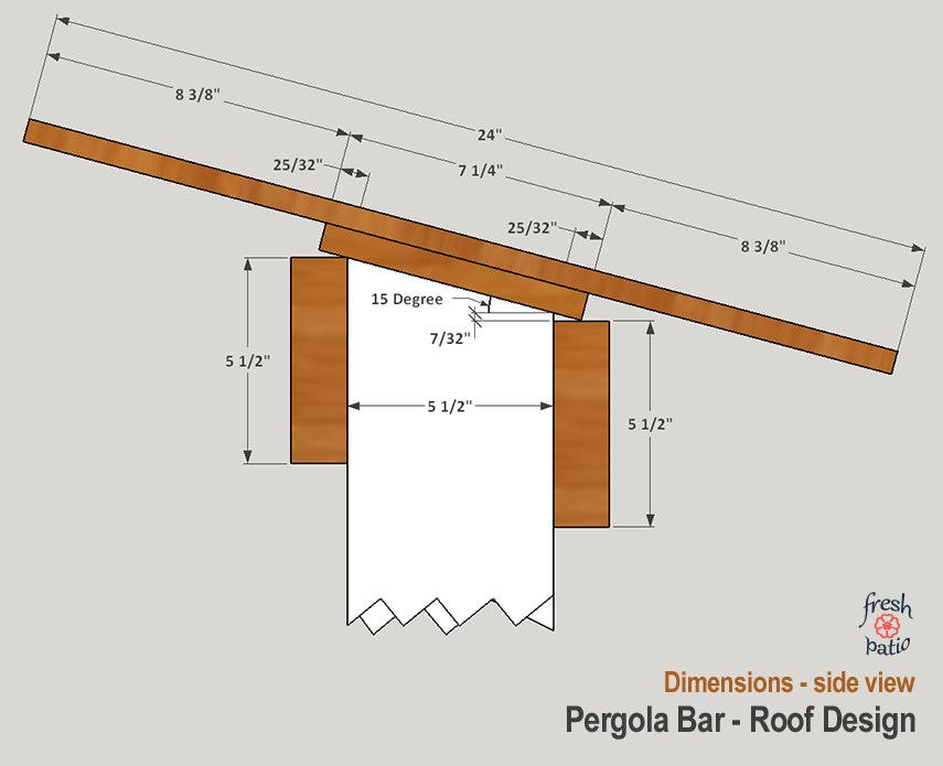 Pergola bar - roof view from the side, with dimensions