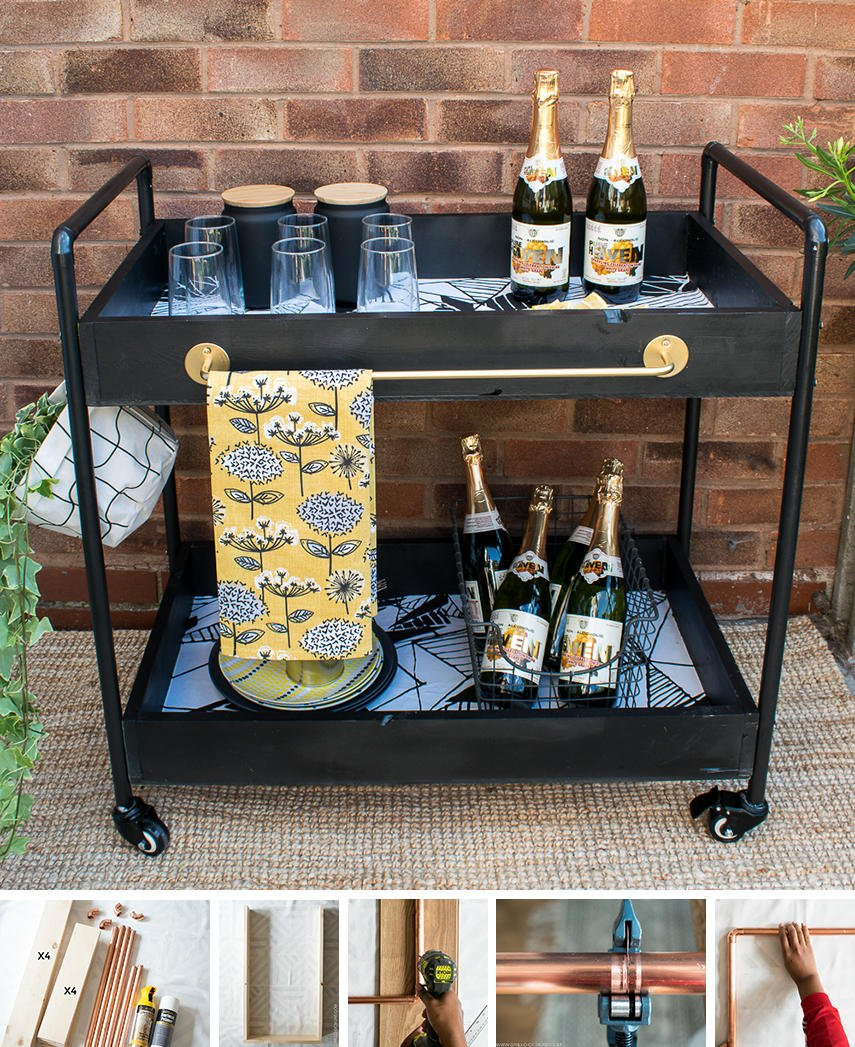A step-by-step DIY guide to build a patio bar cart