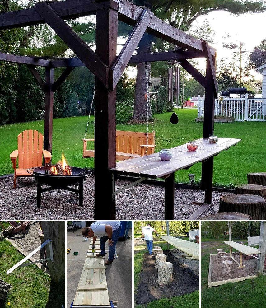 A cool pergola with addition of a bar counter