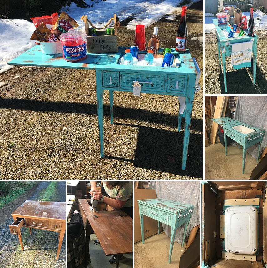 An awesome DIY idea - use an old sewing table to build an outdoor bar cooler