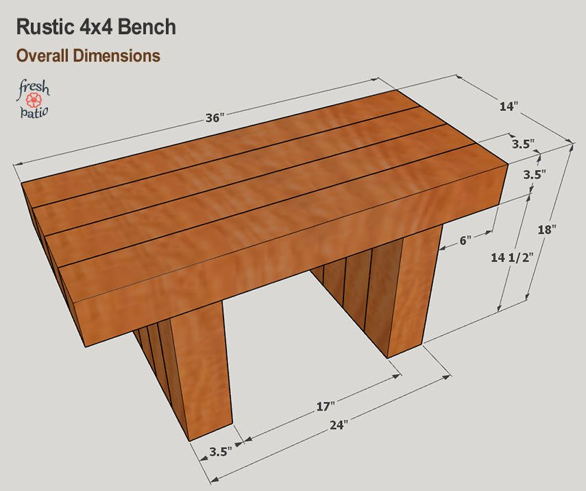 Rustic Bench Plan - Overall Dimensions