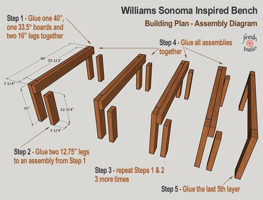 WS Inspired Bench - assembly diagram