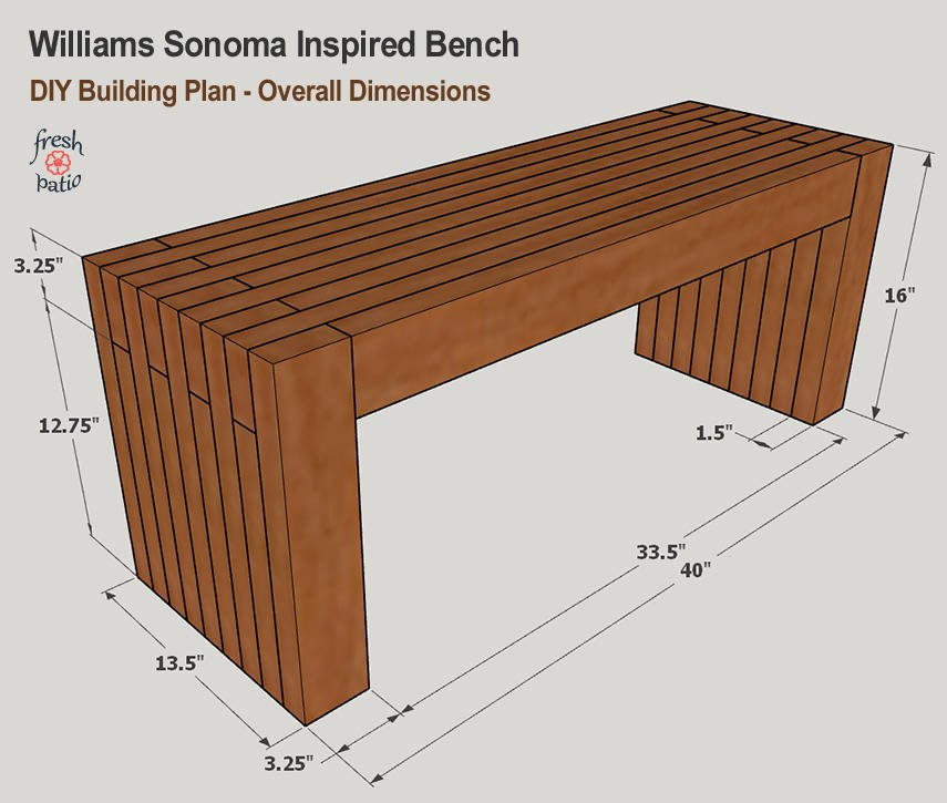 WS Inspired Bench - DIY Building Plan