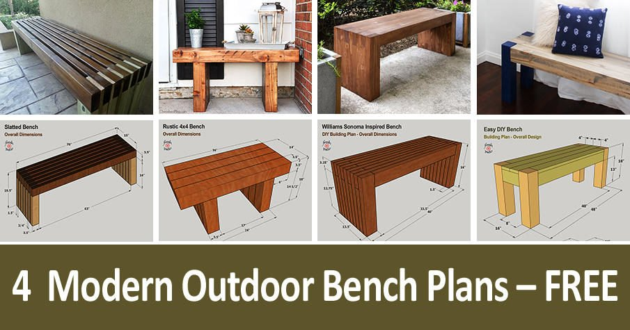 4 Modern DIY Outdoor Bench Plans - FREE