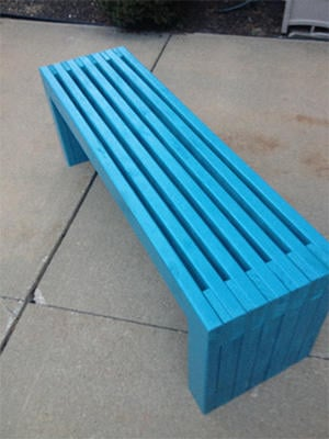 fully painted slatted bench