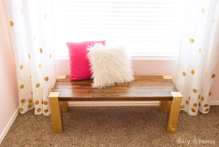 Easy DIY Bench with legs and top painted in different colors
