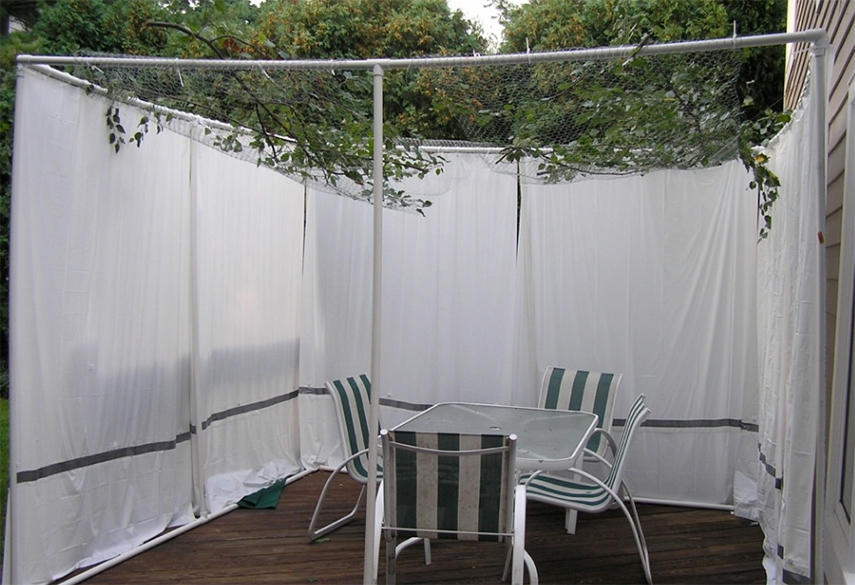 A sukkah plan with PVC and Shower Curtains