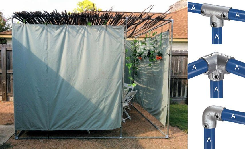 DIY Sukkah built using galvanized steel pipe and Kee Klamps