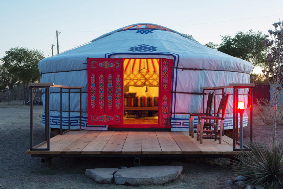 Classic yurt with red doors