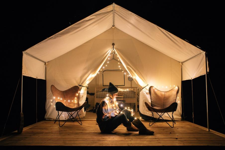 The Safari Tent at night