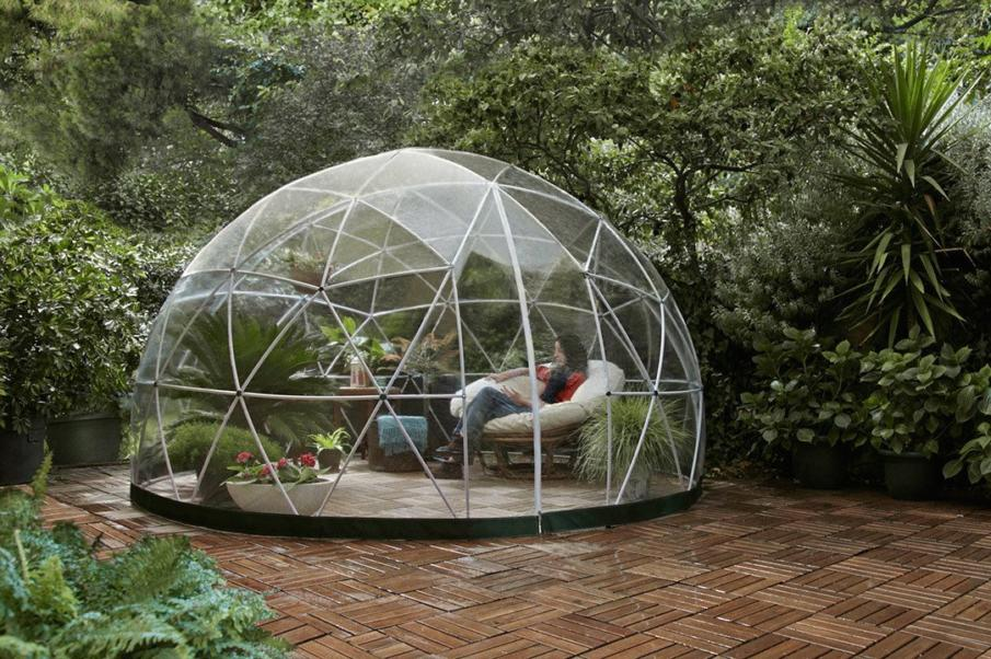 A transparent stargazer dome.