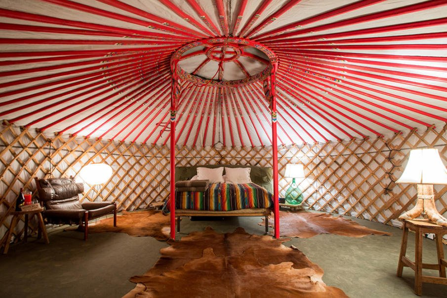 Ribs on the yurt ceiling are red