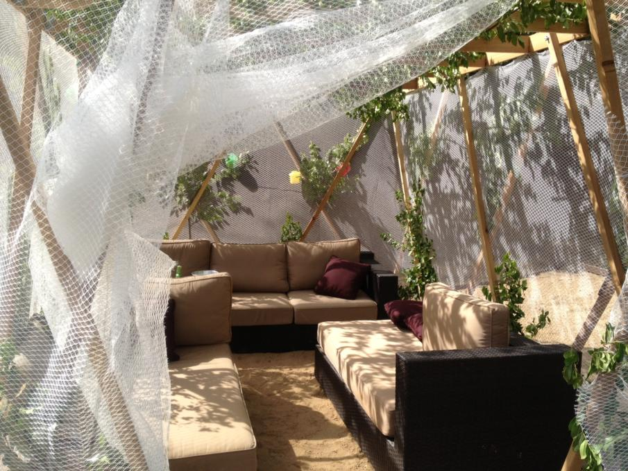 Inside a sukkah covered with a fishing net