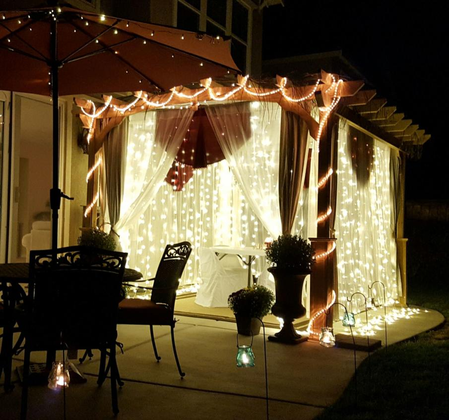 Sukkah decorated with lights