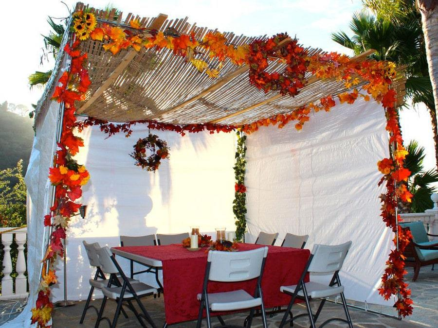Beautiful decorated sukkah in the Fall