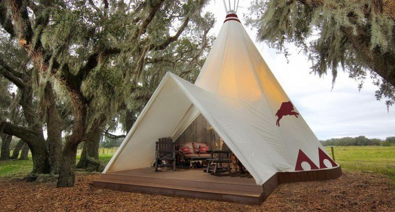 A teepee makes a quaint backyard guest cabin.