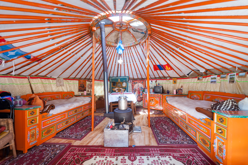 This yurt has a lot of room inside