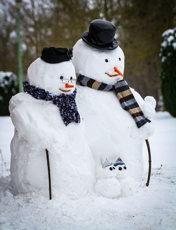 Grandma and Grandpa Snowmen