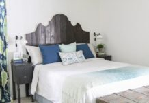 The curved headboard in the bedroom