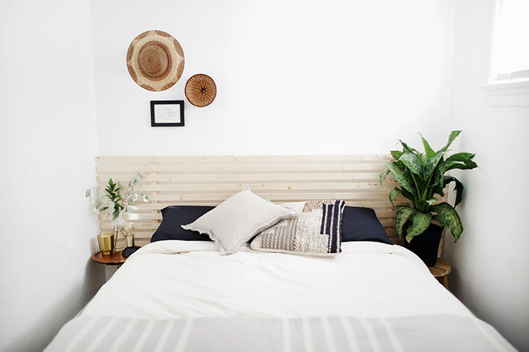 DIY Wood Slatted Headboard by The Merrythought