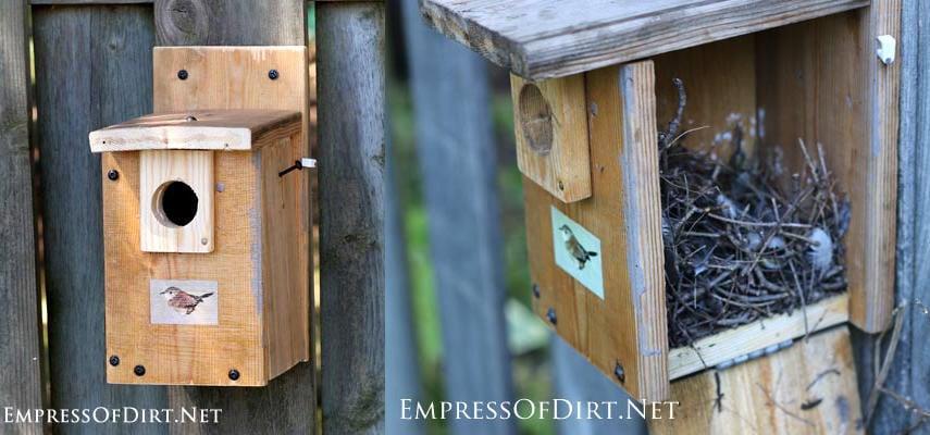 Wren bird house plan with an opening side