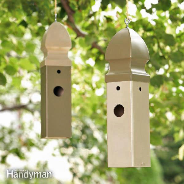 Build a wren birdhouse from a plastic fence post