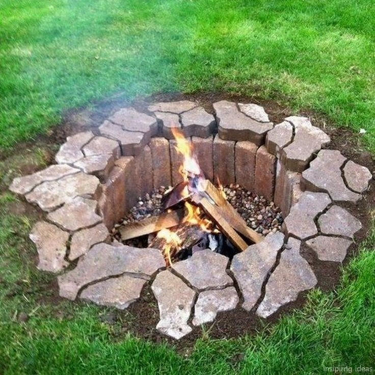 Awesome underground DIY fire pit built using pavement mold