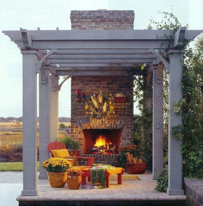 Backyard with small patio and fireplace