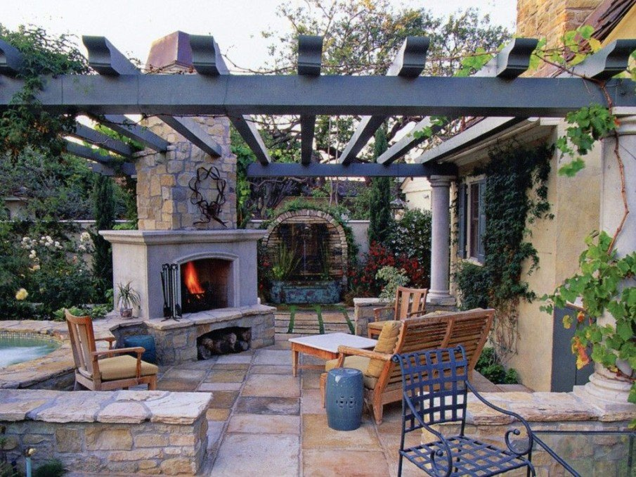 Beautiful outdoor fireplace with pergola ideas