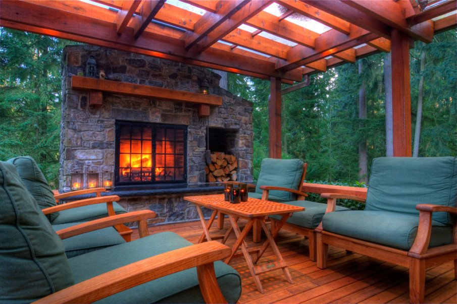 Beautiful outdoor fireplace with pergola