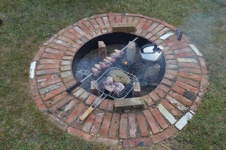 Brick clad firepit