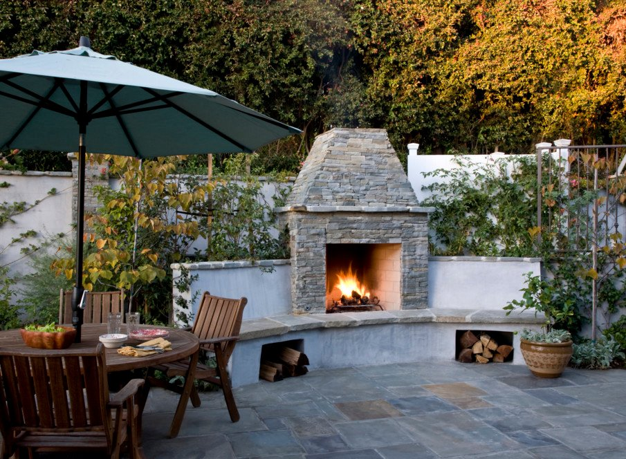 Cape Cod style patio with fireplace idea