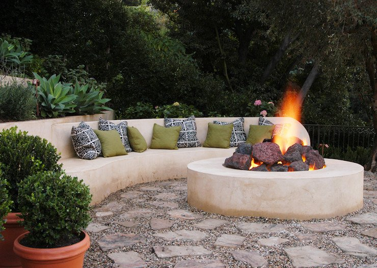Arched fire pit seating made in cement