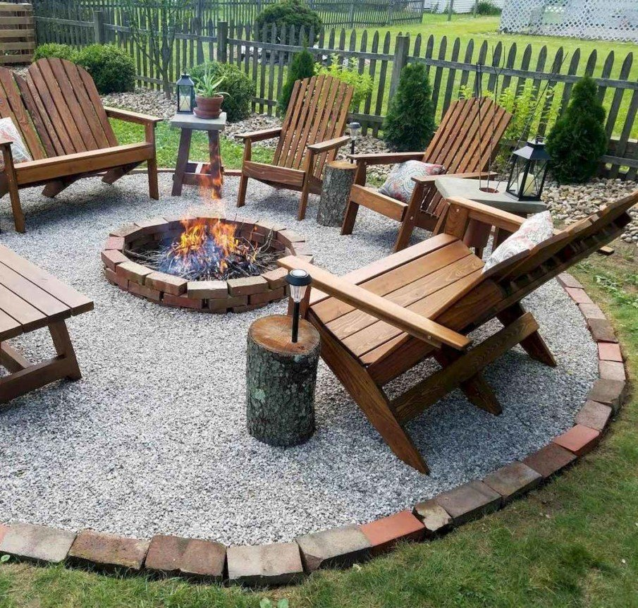 The simplest idea for a fire pit setting - circular gravel patio and a few outdoor chairs