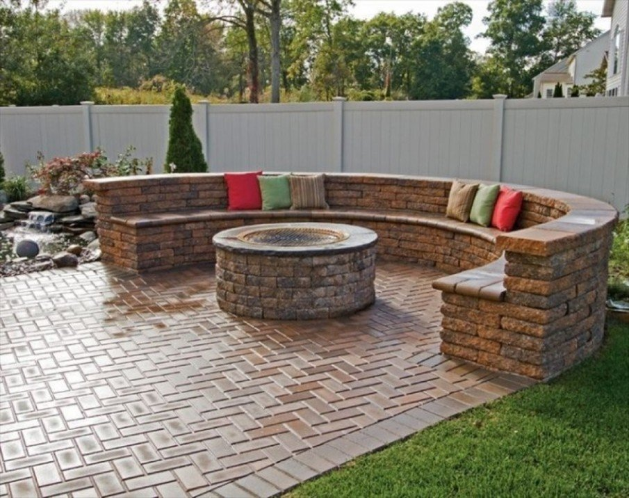 Classic circular stone fire pit seating area ideas