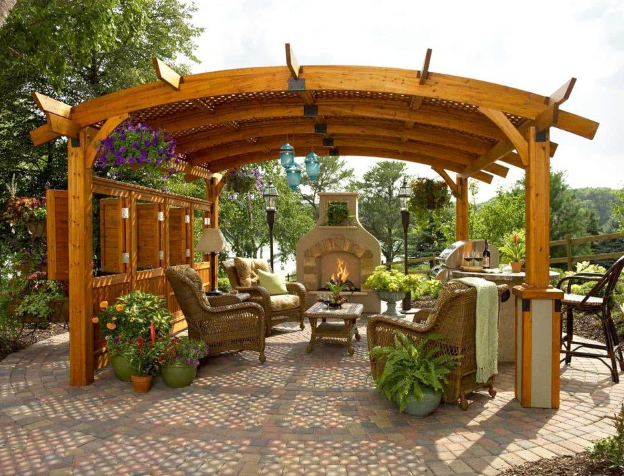 40 Best Patio Designs with Pergola and Fireplace - Covered ... on Best Outdoor Living Spaces id=75613